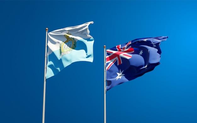 Beaux drapeaux des états nationaux de saint-marin et de l'australie ensemble
