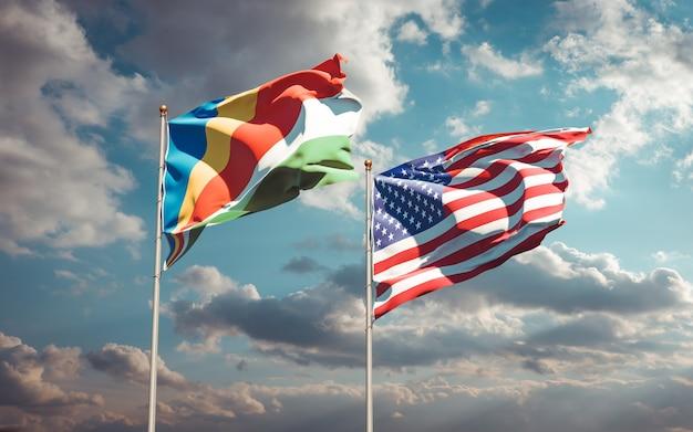 Beaux drapeaux des états nationaux des seychelles et des états-unis ensemble