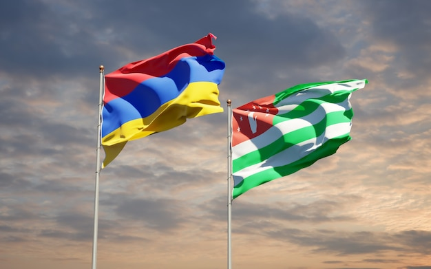 Beaux drapeaux nationaux de l'abkhazie et de l'arménie ensemble