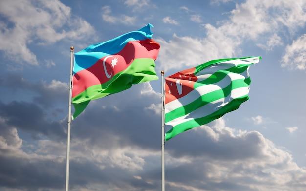 Beaux drapeaux nationaux de l'abkhazie et de l'azerbaïdjan ensemble