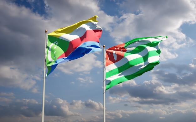Beaux drapeaux nationaux de l'abkhazie et des comores ensemble