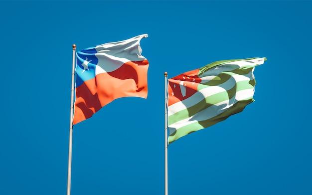 Beaux drapeaux nationaux de l'abkhazie et du chili ensemble