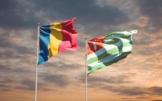 Beaux drapeaux nationaux de l'abkhazie et du tchad ensemble