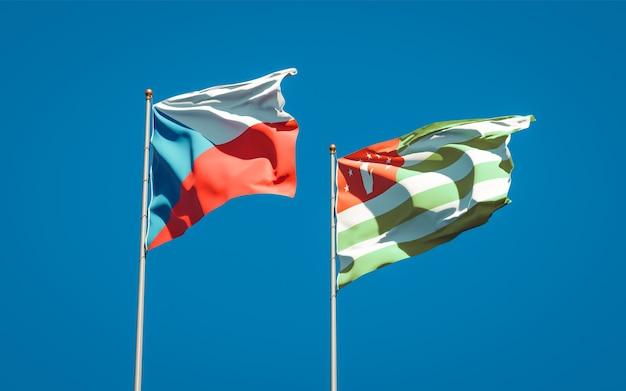 Beaux drapeaux nationaux de l'abkhazie et du tchèque ensemble