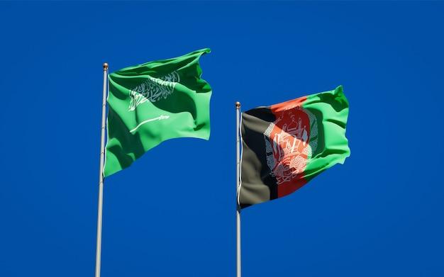 Beaux drapeaux nationaux de l'afghanistan et de l'arabie saoudite