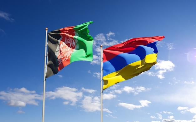 Beaux drapeaux nationaux de l'afghanistan et de l'arménie ensemble dans le ciel. concept d'illustration 3d.