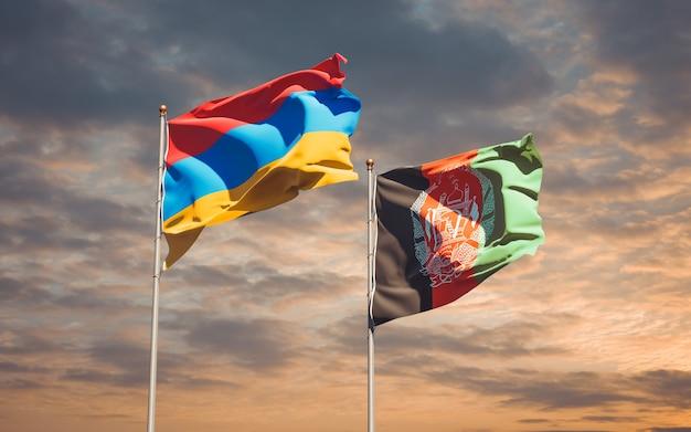 Beaux drapeaux nationaux de l'afghanistan et de l'arménie