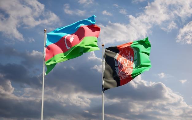 Beaux drapeaux nationaux de l'afghanistan et de l'azerbaïdjan