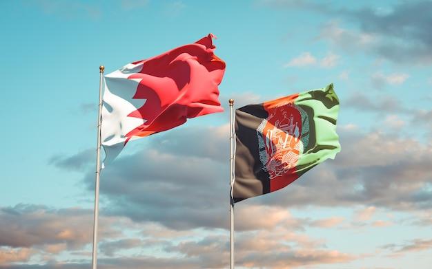 Beaux drapeaux nationaux d'afghanistan et de bahreïn