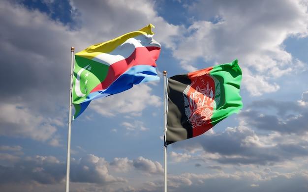 Beaux drapeaux nationaux de l'afghanistan et des comores