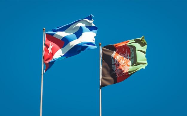 Beaux drapeaux nationaux de l'afghanistan et de cuba