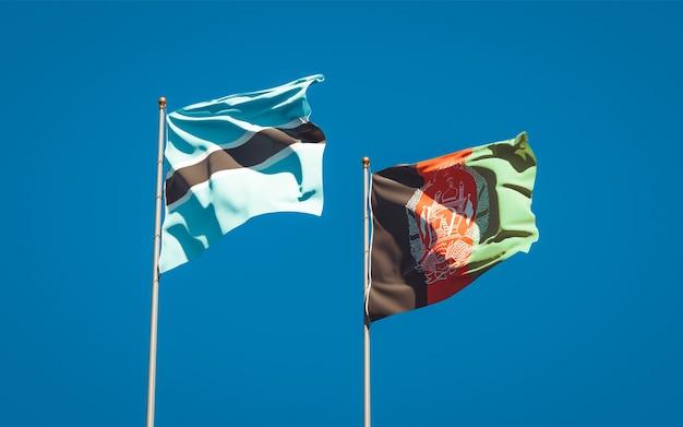 Beaux drapeaux nationaux de l'afghanistan et du botswana