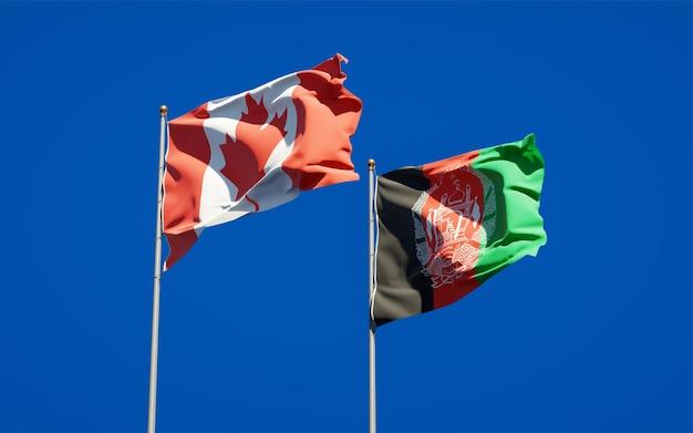 Beaux drapeaux nationaux de l'afghanistan et du canada