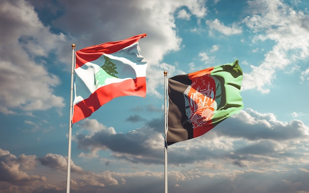 Beaux drapeaux nationaux de l'afghanistan et du liban