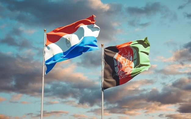 Beaux drapeaux nationaux de l'afghanistan et du paraguay