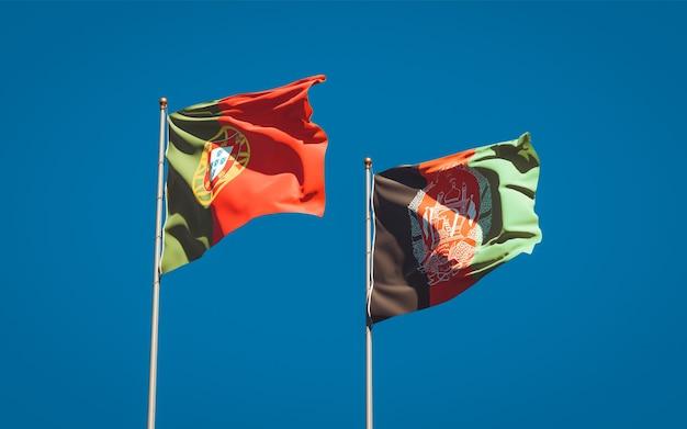Beaux drapeaux nationaux de l'afghanistan et du portugal