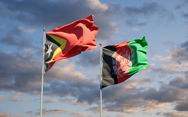 Beaux drapeaux nationaux de l'afghanistan et du timor oriental