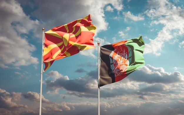 Beaux drapeaux nationaux de l'afghanistan et de la macédoine du nord