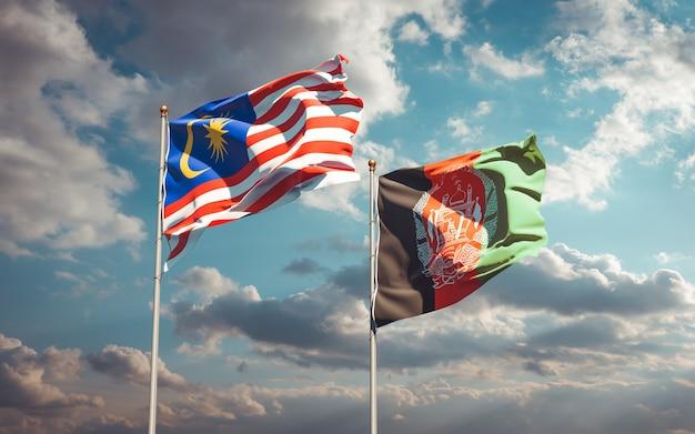 Beaux drapeaux nationaux de l'afghanistan et de la malaisie