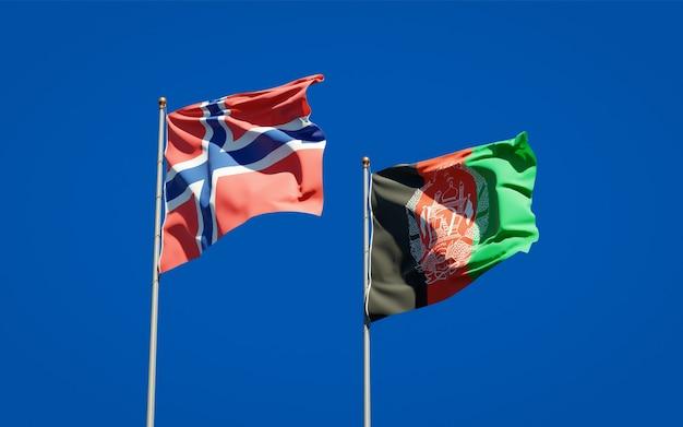 Beaux drapeaux nationaux de l'afghanistan et de la norvège