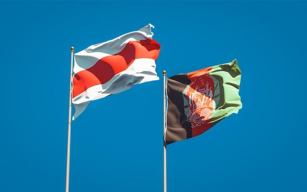 Beaux drapeaux nationaux de l'afghanistan et de la nouvelle biélorussie