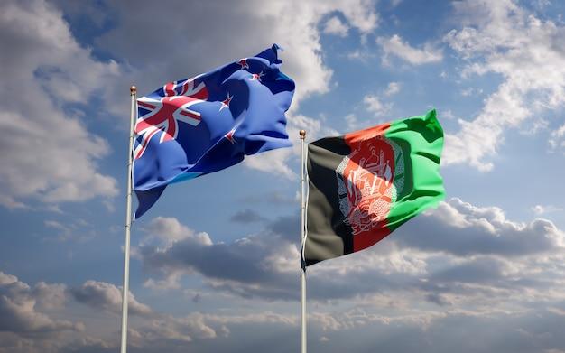 Beaux drapeaux nationaux de l'afghanistan et de la nouvelle-zélande