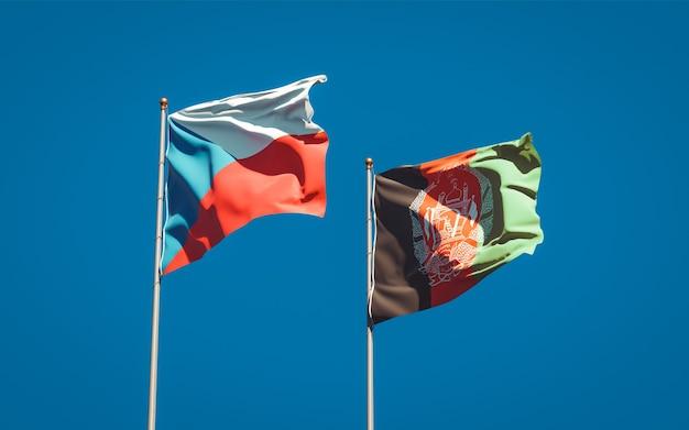 Beaux drapeaux nationaux de l'afghanistan et de la république tchèque