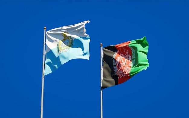 Beaux drapeaux nationaux de l'afghanistan et de saint-marin