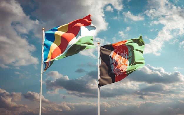 Beaux drapeaux nationaux de l'afghanistan et des seychelles