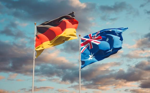 Beaux drapeaux nationaux de l'allemagne et de l'australie ensemble
