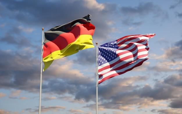 Beaux drapeaux nationaux de l'allemagne et des états-unis ensemble
