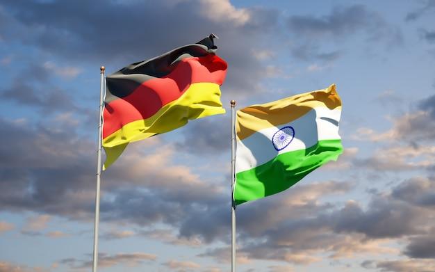 Beaux drapeaux nationaux de l'allemagne et de l'inde ensemble