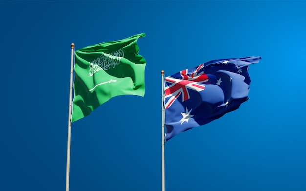 Beaux drapeaux nationaux de l'arabie saoudite et de l'australie ensemble