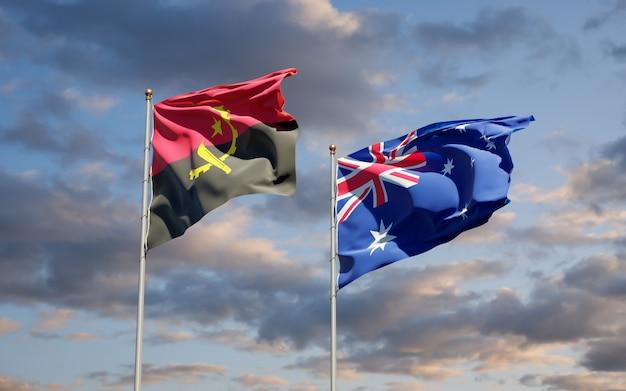 Beaux drapeaux nationaux de l'australie et de l'angola ensemble