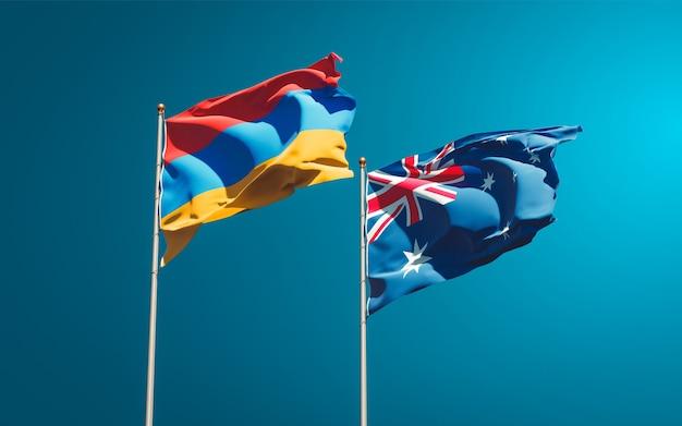 Beaux drapeaux nationaux de l'australie et de l'arménie ensemble