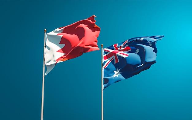 Beaux drapeaux nationaux de l'australie et de bahreïn ensemble