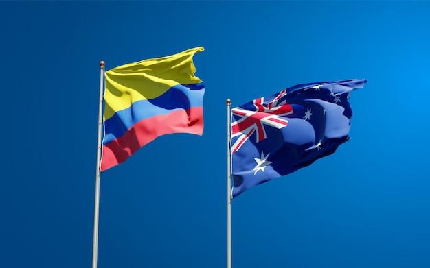 Beaux drapeaux nationaux de l'australie et de la colombie ensemble