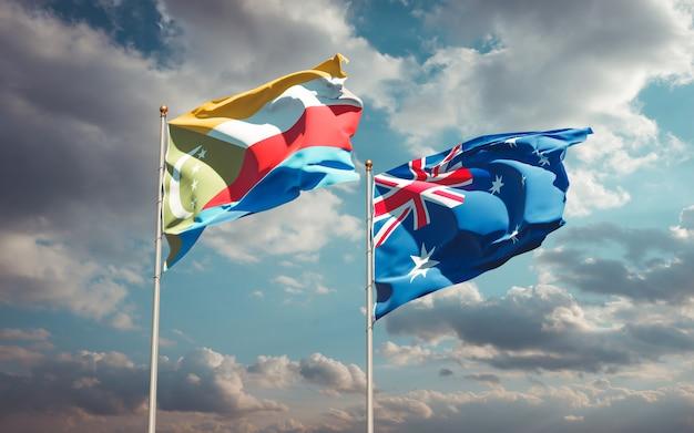 Beaux drapeaux nationaux de l'australie et des comores ensemble