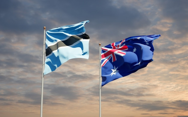 Beaux drapeaux nationaux de l'australie et du botswana ensemble