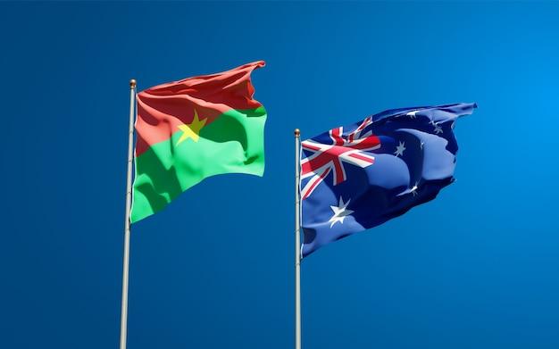Beaux drapeaux nationaux de l'australie et du burkina faso ensemble