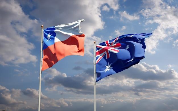 Beaux drapeaux nationaux de l'australie et du chili ensemble