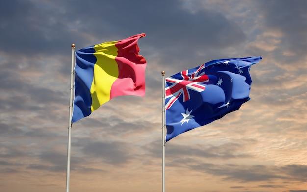 Beaux drapeaux nationaux de l'australie et du tchad ensemble