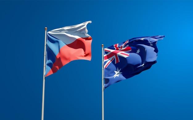 Beaux drapeaux nationaux de l'australie et du tchèque ensemble