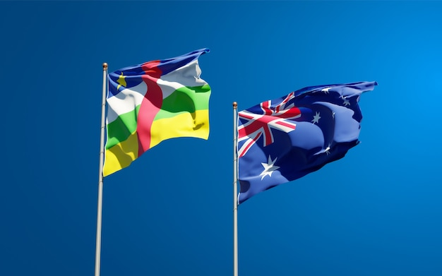 Beaux drapeaux nationaux de l'australie et de la rca république centrafricaine ensemble