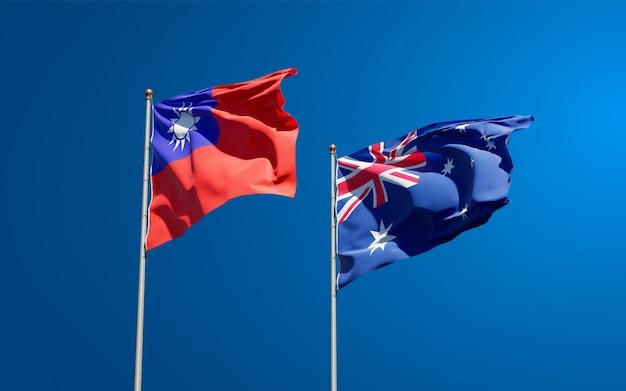 Beaux drapeaux nationaux de l'australie et de taiwan ensemble