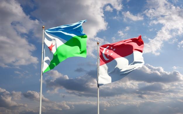 Beaux drapeaux nationaux de djibouti et de singapour ensemble