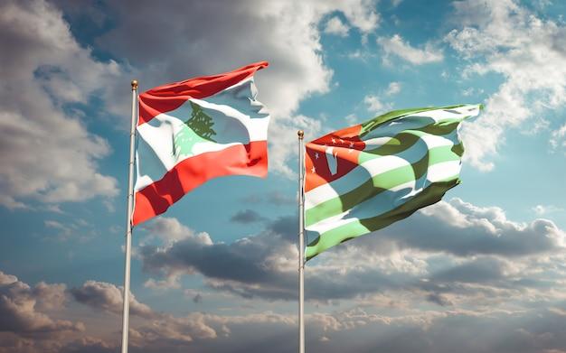 Beaux drapeaux nationaux du liban et de l'abkhazie ensemble