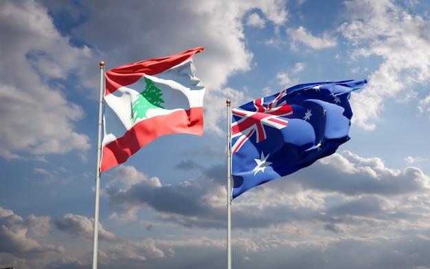 Beaux drapeaux nationaux du liban et de l'australie ensemble