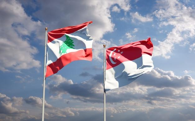 Beaux drapeaux nationaux du liban et de singapour ensemble
