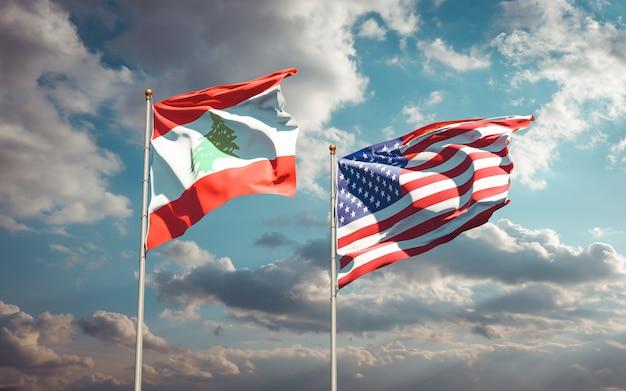 Beaux drapeaux nationaux du liban et des usa ensemble
